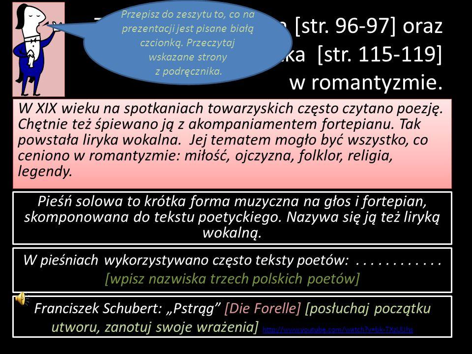 Temat: Pieśń solowa [str. 96-97] oraz opera i operetka [str